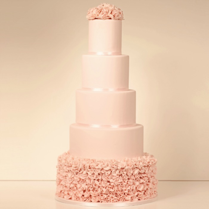 Pink Ruffle 5 Tier Wedding Cake - Yumbles.com