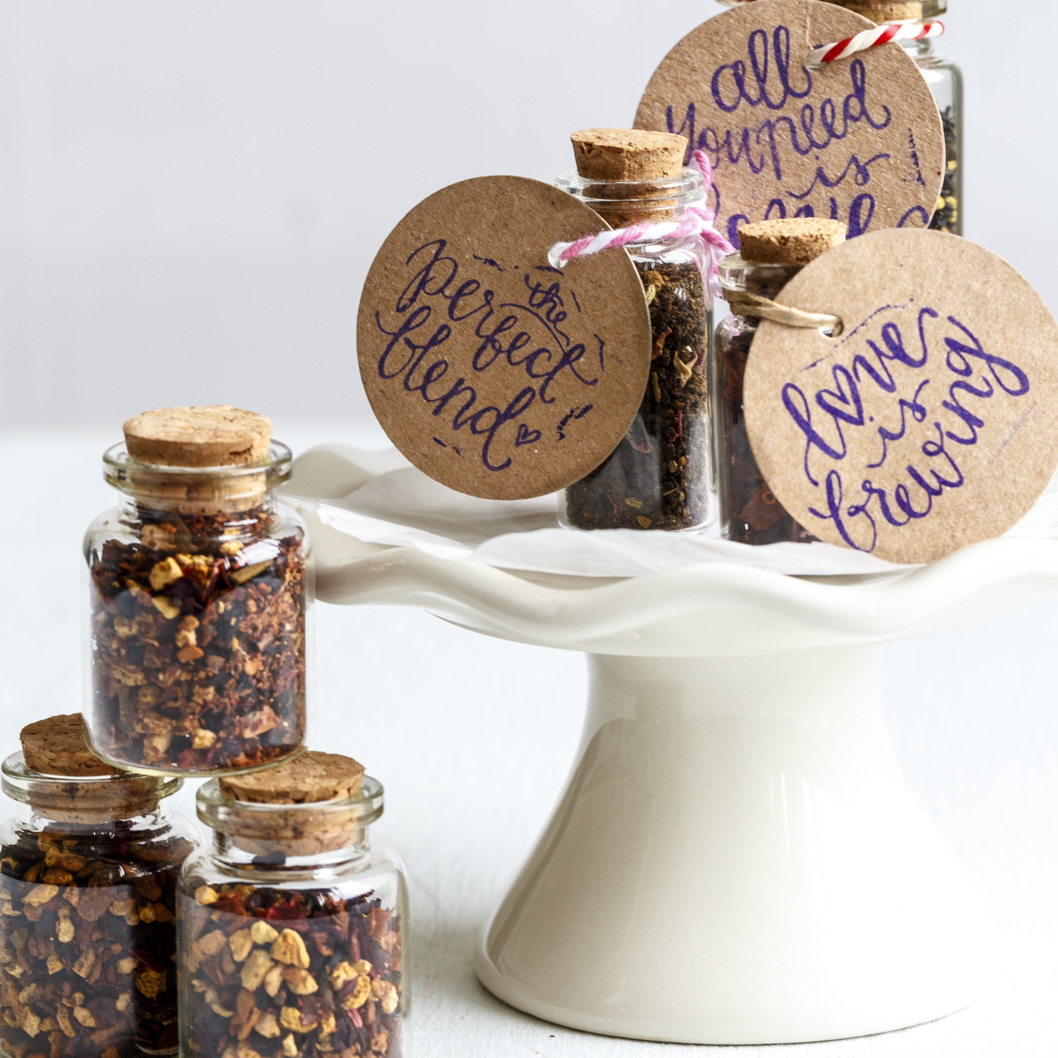 Personalised Tea In Cork Bottle Wedding Favour - Yumbles.com