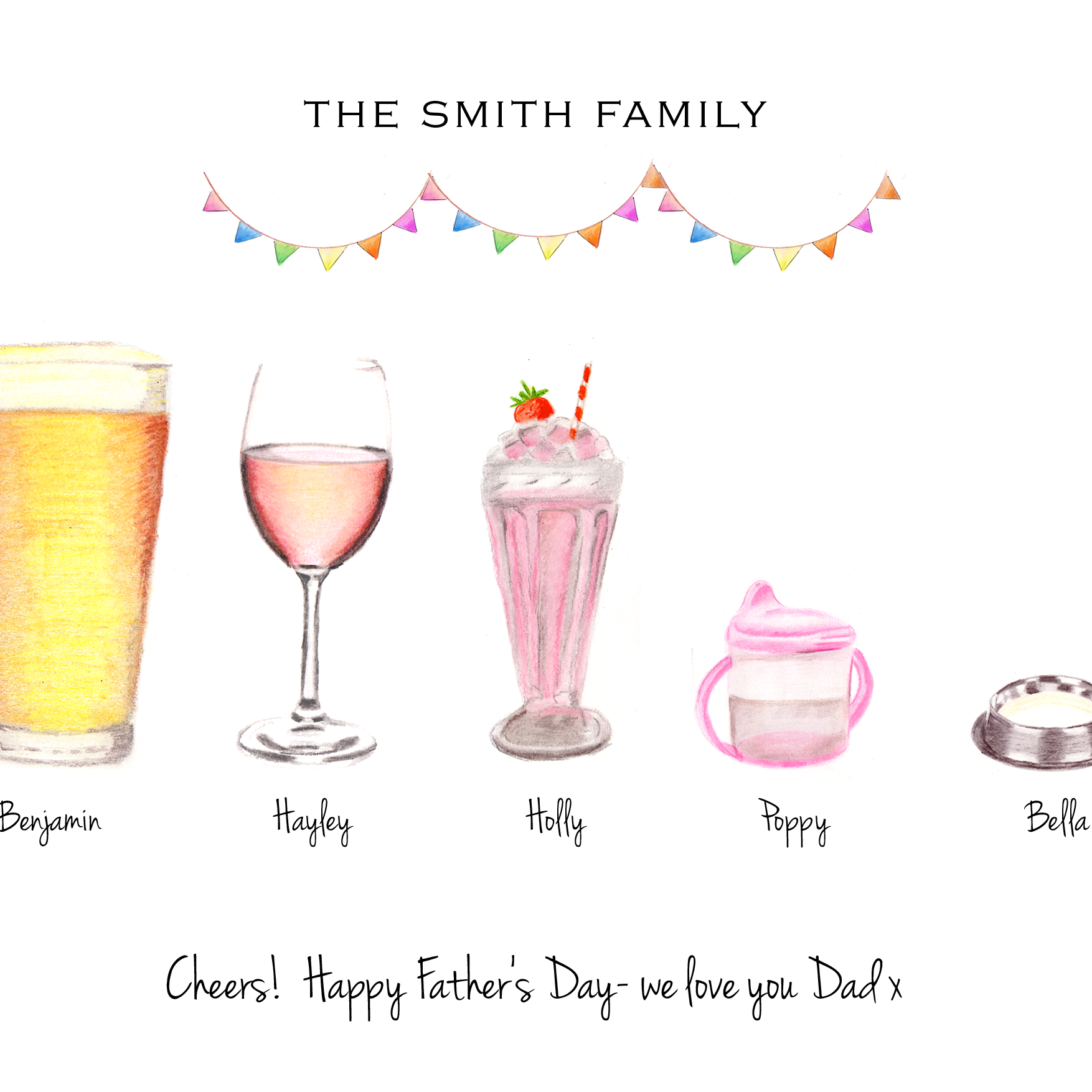 Personalised Family Print family Drinks print