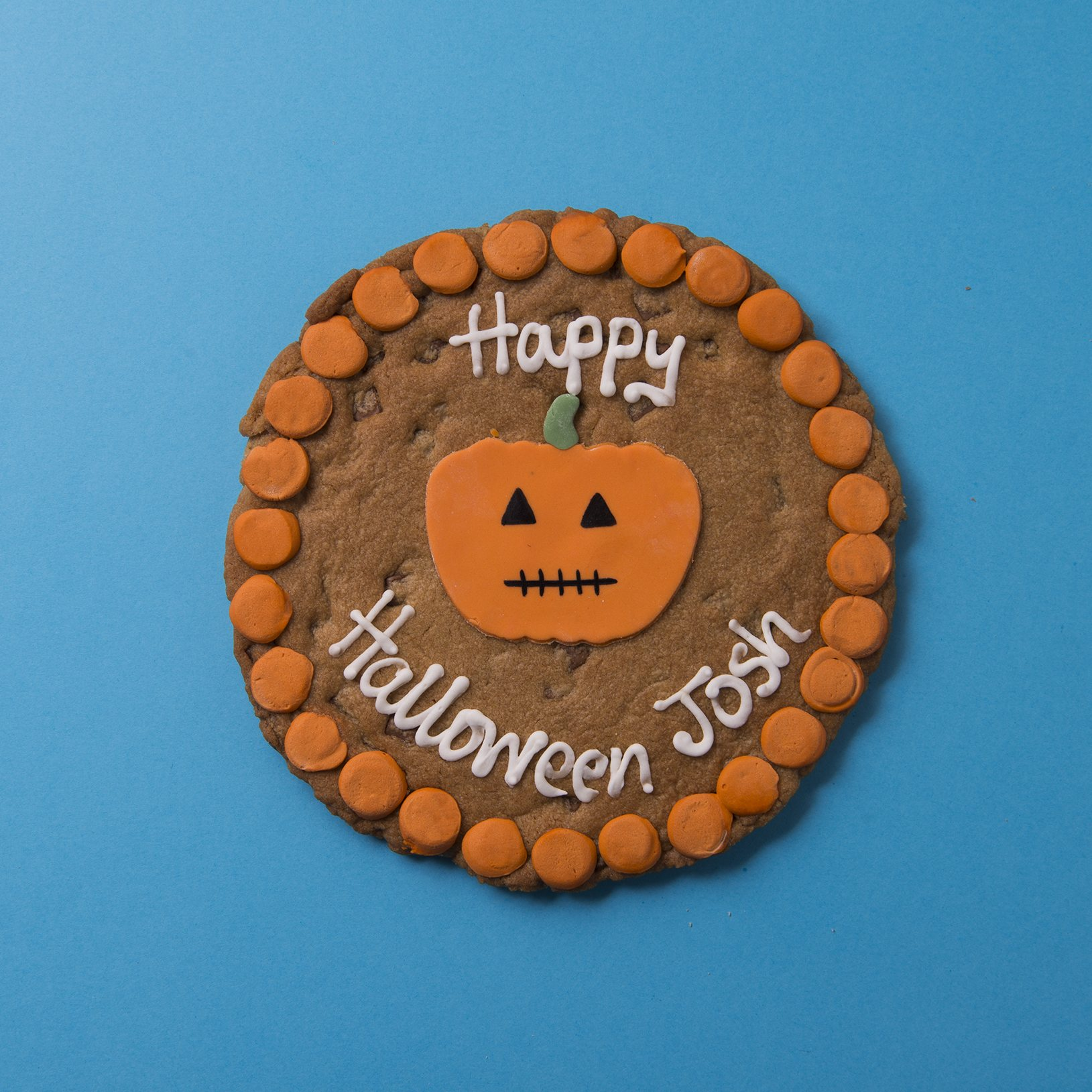 halloween pumpkin chocolate chip cookie card - yumbles