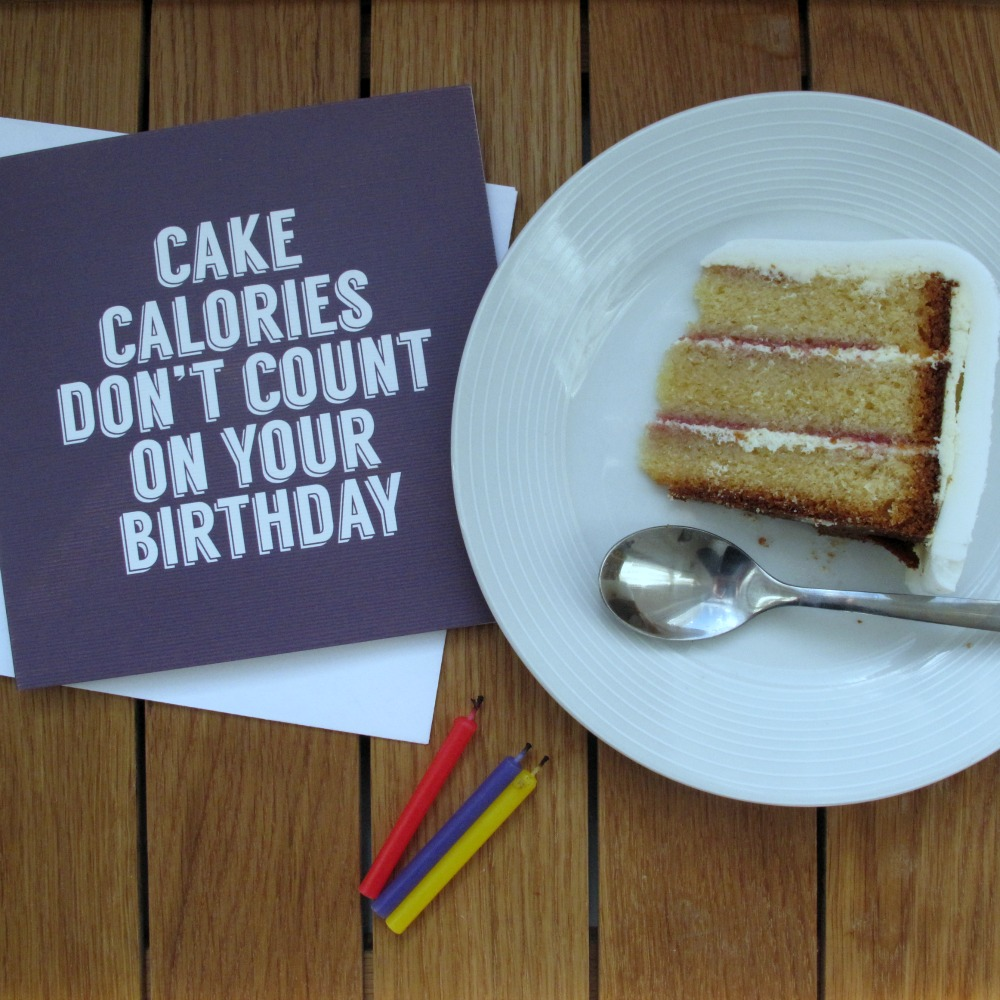 Cake Calories Dont Count On Your Birthday Birthday Card Purple