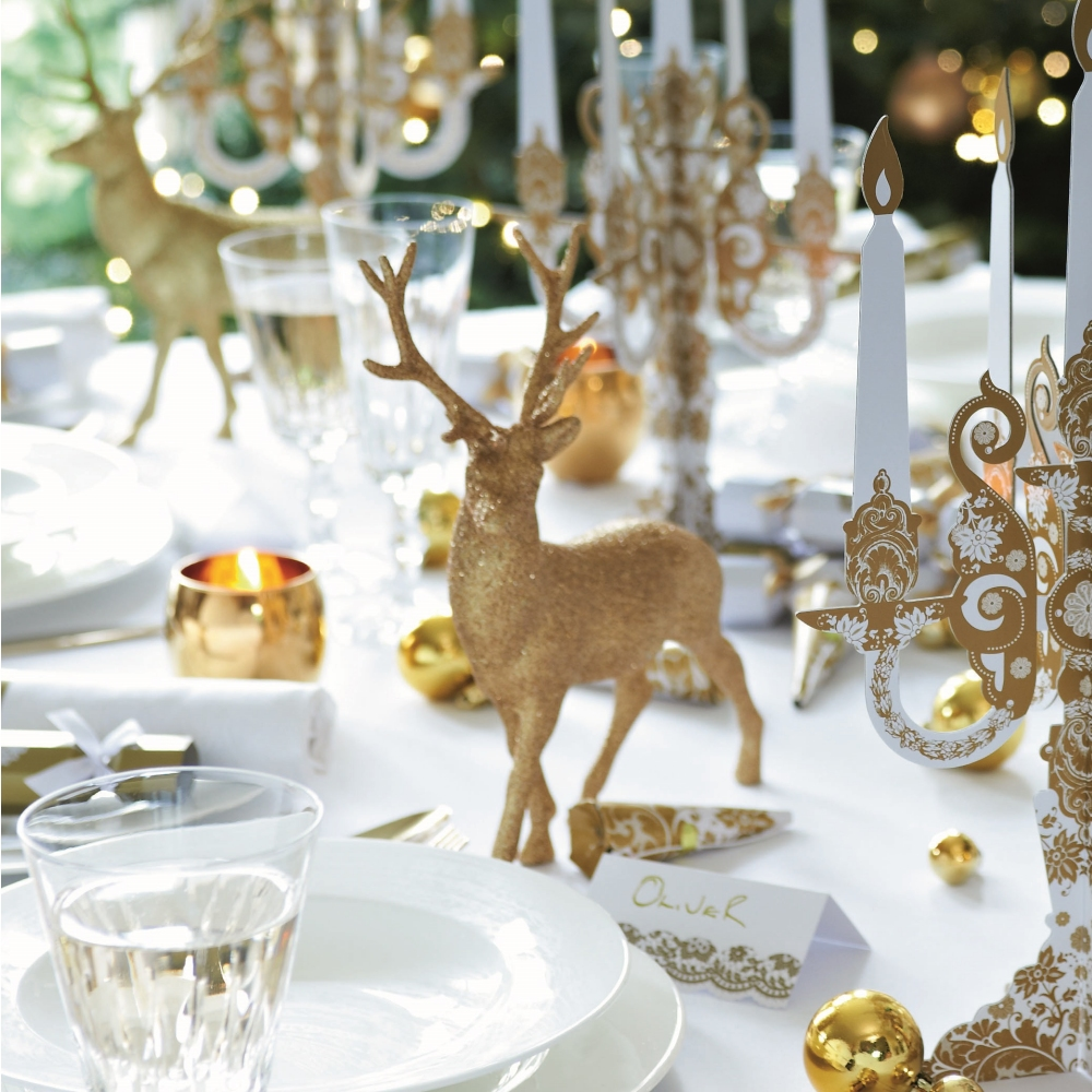 Gold reindeer christmas table decoration - Deco table noel argent et blanc ...