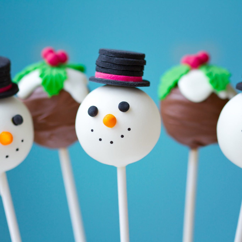 Christmas Cake Pops.Christmas Pudding And Snowmen Cake Pops Set Of 10