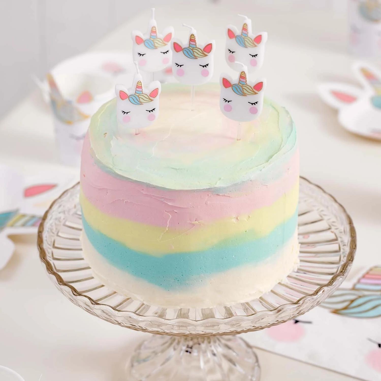 Unicorn Birthday Cake Candles Pack Of 5 Yumbles Com