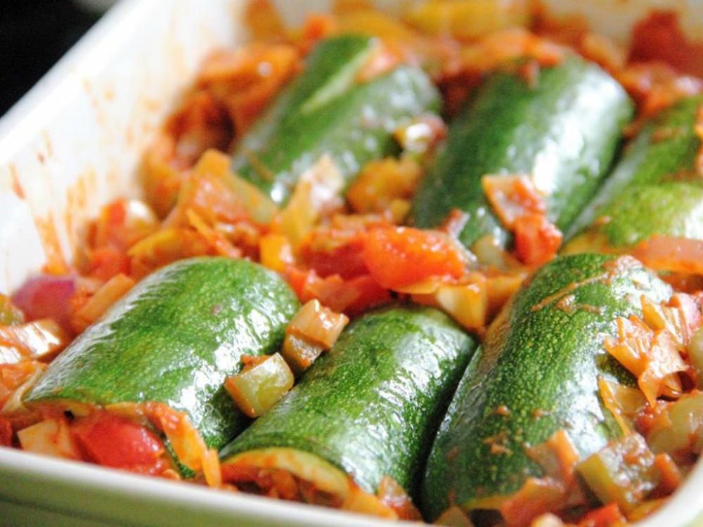 Tomato and Olive Courgette Cannelloni