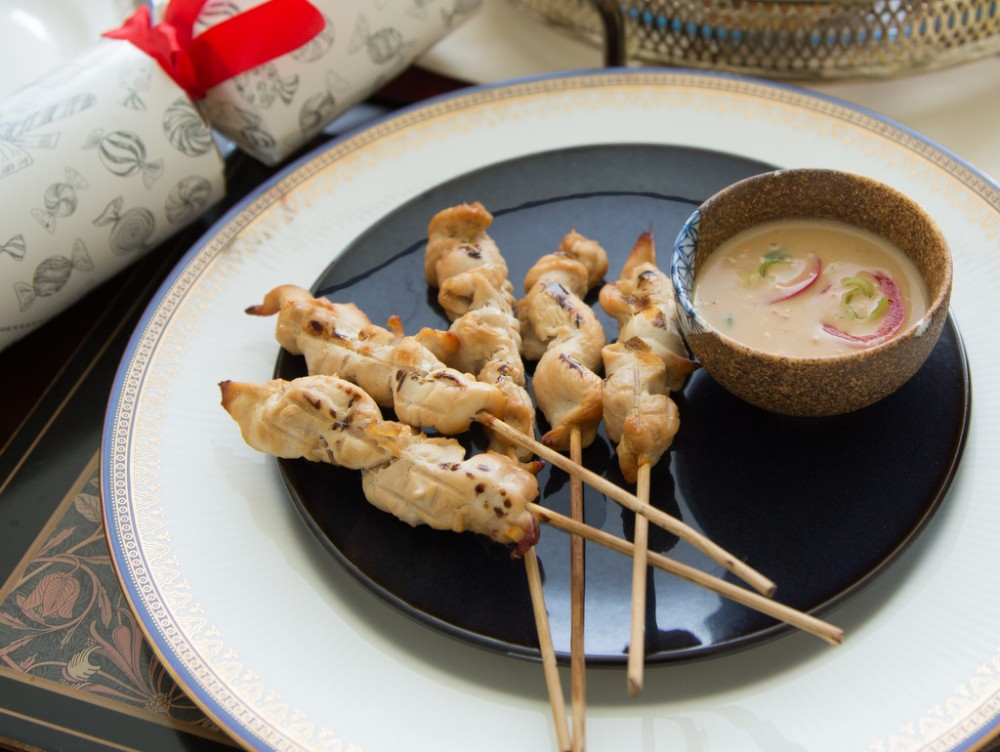 Lemongrass Chicken Satay with Peanut Butter Dipping Sauce