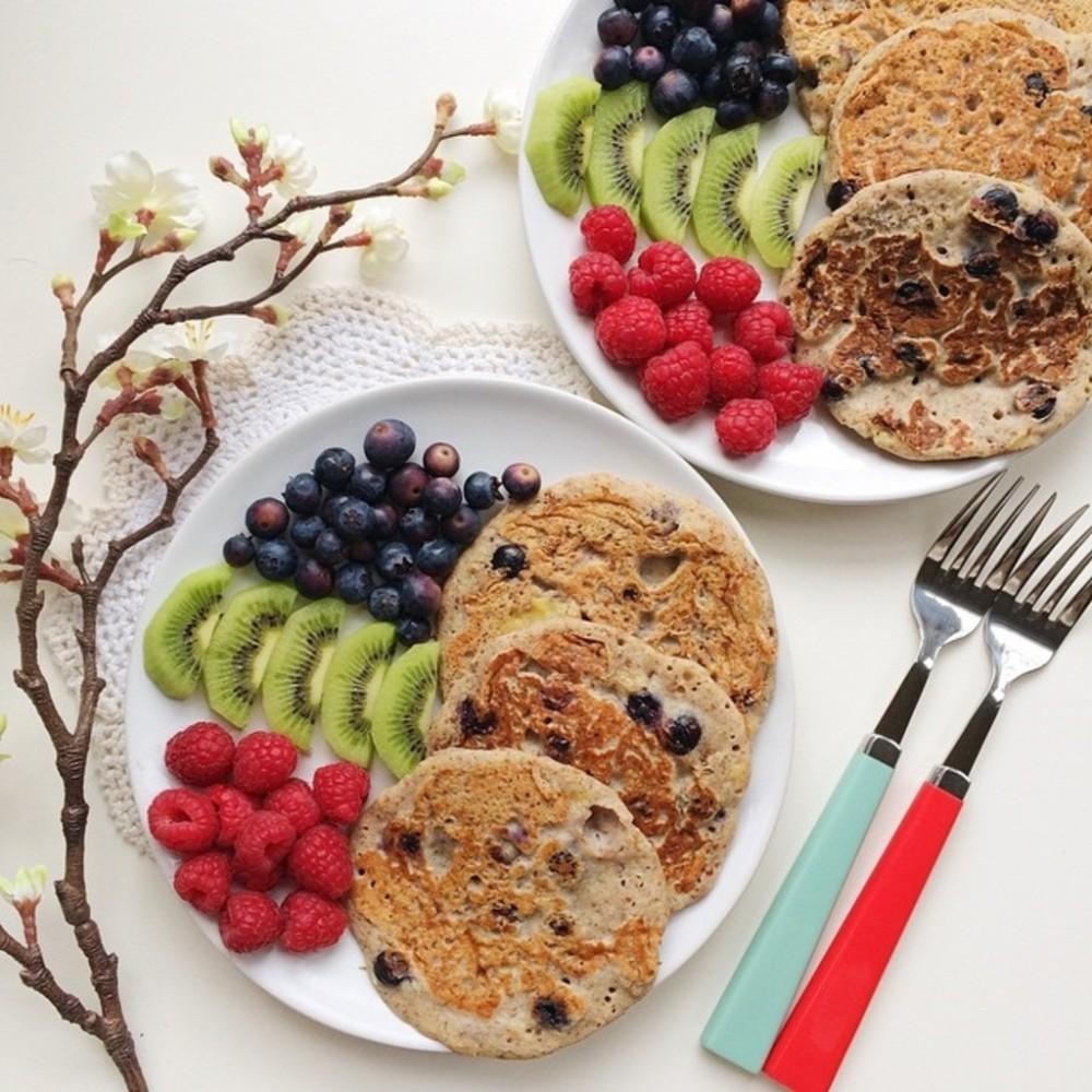 Vegan Blueberry Muffin Buckwheat Pancakes