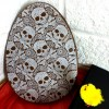 Large Flat Milk Chocolate Easter Egg with Skull Design