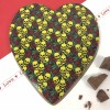Large Milk Chocolate Heart with Skulls & Roses Design