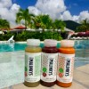 Cold pressed juice by the pool never tasted so good.