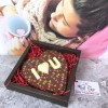 Large Personalised Chocolate Heart in Milk Chocolate with Heart Design