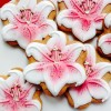 Pink Stargazer Lily Biscuit Favours