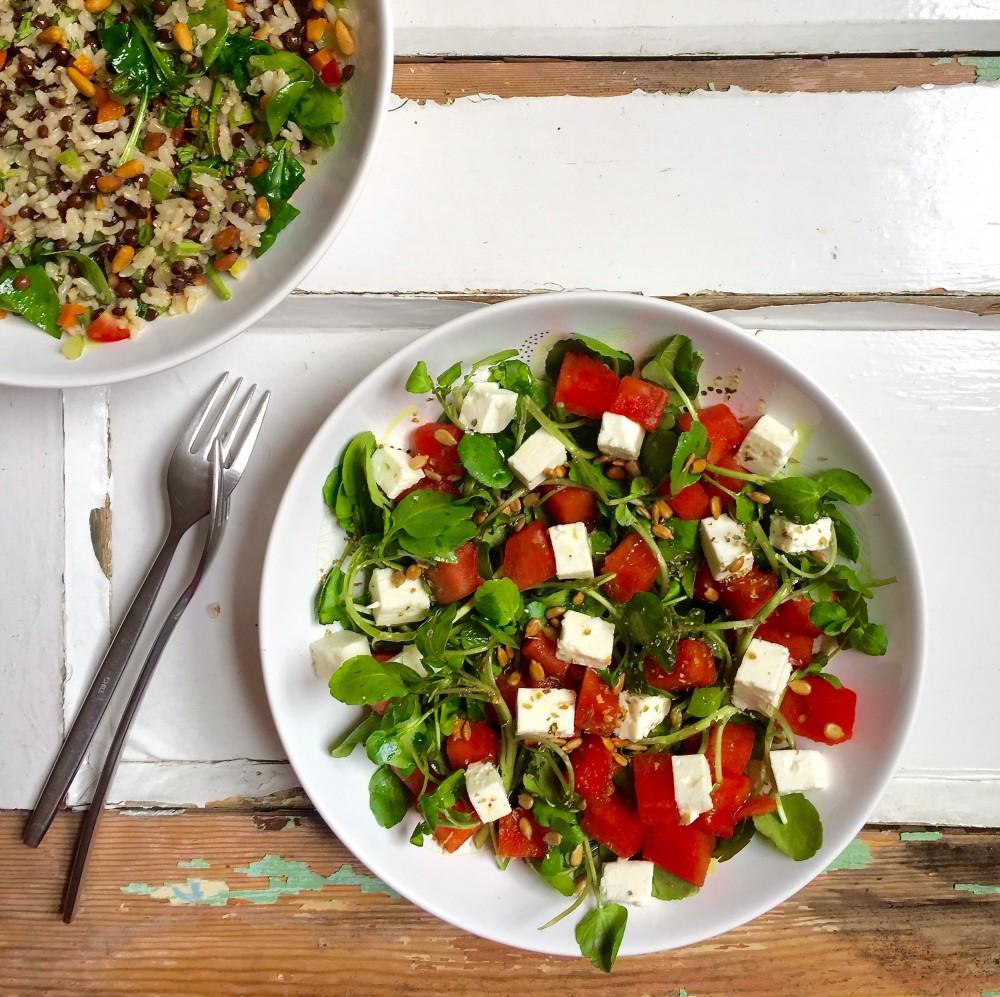 Watercress, Feta and Watermelon Salad