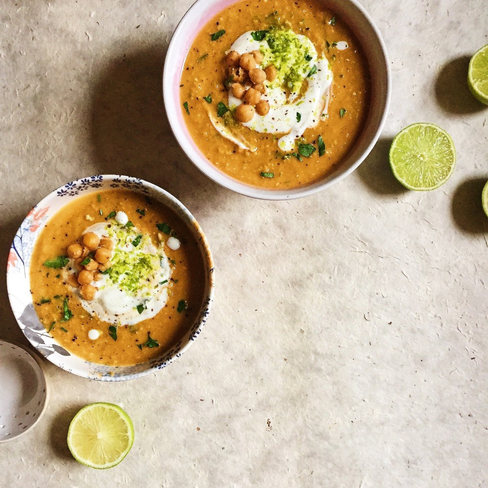 Chickpea Soup with Lime Cream