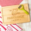 Mr & Mrs Personalised Name and Date Chopping Board