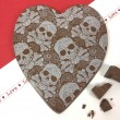 Large Milk Chocolate Heart in Skull Design