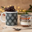 Christmas Scandi Snowflake Mug with Chocolate Cake Treat
