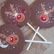 handmade milk chocolate reindeer lollipop