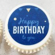 Happy Birthday Blue Message Cupcakes