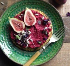 Buckwheat Pancakes with Beetroot Hummus