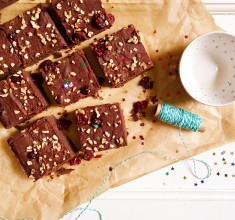 Yuletide Buckwheat, Cranberry and Chestnut Brownies