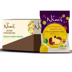 Nim's Air Dried Beetroot and Pineapple Crisps (12 packs)