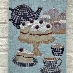 Tea & Cherry Cake Mosaic Picture
