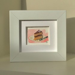 Miniature Slice Of Cake In A White Frame