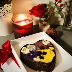 Floral Heart Chocolate Brownie