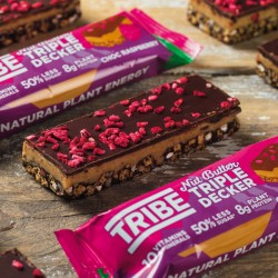 TRIBE Nut Butter Triple Decker - Choc Raspberry Bar - Vegan, Gluten & Dairy Free Bar (12 x 40g)
