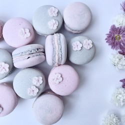 Pink-Grey Flower Decorated Birthday Macaron (Box of 12)