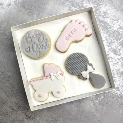 Girl Baby Shower Biscuits (Box of 4)