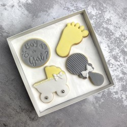 Baby Shower Biscuits in Yellow, Grey and White Colour (Box of 4)