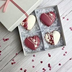 Burgundy-White Heart Macarons