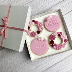 Flower Birthday Biscuits (4 Biscuits)