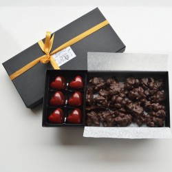 Artisan, Handmade Dark Chocolate Set with Sea Salt Caramels and Mini Slabs with Nuts and Dried Fruits