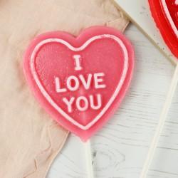 """Raspberry Gin - """"I love you"""" Heart Shaped Lollipop"""