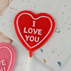 "Strawberry Prosecco - ""I love you"" Heart Shaped Lollipop"