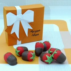 Chocolate Covered Marzipan Strawberries, Chocolate Dipped Marzipan Fruits
