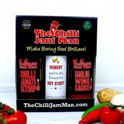 'Hot Stuff' Personalised Chilli Sauce Gift Set