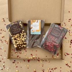 Vegan Chocolate Best Sellers Box - Honeycomb, Raspberry and Salted Caramel Slabs | 290g Dairy Free Cocoa Libre