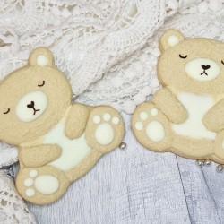 Baby Gender Reveal Teddy Bear Vanilla Biscuits