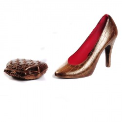 Louby Designer Handmade Chocolate Shoe & Purse