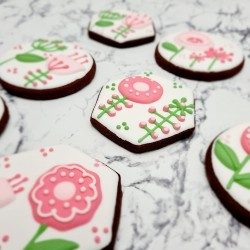 Graphic Floral Hand-Iced Chocolate or Vanilla Biscuits, 6 or 12 Pieces
