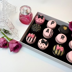Paris Themed Pink & Black Macaron Cookie