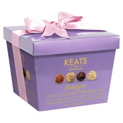 Luxury Chocolate Truffle Selection Purple Gift Box with Pink Ribbon