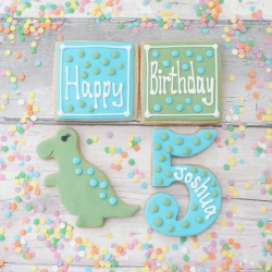 Personalised Dinosaur Cookie Gift Set for Children