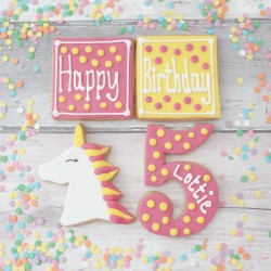 Personalised Birthday Unicorn Cookie Gift Set for Children