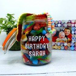 Happy Birthday Personalised Retro Sweets Jar