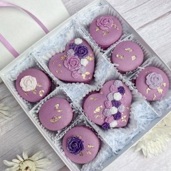 Purple Macarons with Roses